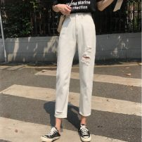 Jeans Summer 2021 white S,M,L Ninth pants High waist Straight pants routine 18-24 years old Cotton denim 9918M 51% (inclusive) - 70% (inclusive)