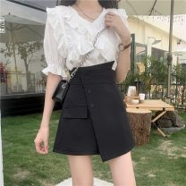 Fashion suit Summer 2021 S. M, l, XL, one size fits all White coat , Blue top , White skirt , Black skirt 18-25 years old 8769H 71% (inclusive) - 80% (inclusive) polyester fiber