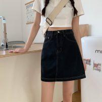 skirt Summer 2021 S,M,L Off white, blue, black Short skirt commute High waist A-line skirt Type A 18-24 years old 757X 51% (inclusive) - 70% (inclusive) cotton Korean version