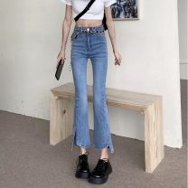 Jeans Summer 2021 blue S,M,L trousers High waist Flared trousers routine 18-24 years old other light colour 8065H 71% (inclusive) - 80% (inclusive)