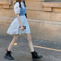 Fashion suit Summer 2021 Average size White shirt skirt, blue shirt skirt, light blue jeans sling, dark blue jeans sling 18-25 years old 520F 81% (inclusive) - 90% (inclusive) polyester fiber