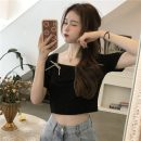 T-shirt White, black Average size Summer 2021 Short sleeve square neck Self cultivation have cash less than that is registered in the accounts puff sleeve commute polyester fiber 71% (inclusive) - 85% (inclusive) 18-24 years old Korean version 2723H bow