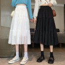 skirt Summer 2021 Average size White, black Mid length dress commute High waist A-line skirt Solid color Type A 18-24 years old 8357M 51% (inclusive) - 70% (inclusive) polyester fiber Splicing Korean version