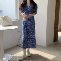 Dress Summer 2021 blue Average size longuette singleton  Short sleeve commute V-neck Loose waist Broken flowers Single breasted A-line skirt routine 18-24 years old Type A Korean version 5004M 51% (inclusive) - 70% (inclusive) cotton