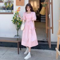 Dress Summer 2021 White, pink S, M Mid length dress singleton  Short sleeve commute square neck High waist Solid color Socket A-line skirt puff sleeve Others 18-24 years old Type A Korean version 6592F 51% (inclusive) - 70% (inclusive) cotton