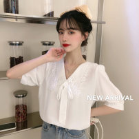 Lace / Chiffon Summer 2021 white Average size Short sleeve commute Socket singleton  easy Regular Doll Collar Solid color puff sleeve 18-24 years old 200M bow Korean version 51% (inclusive) - 70% (inclusive) polyester fiber