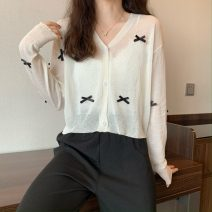 Wool knitwear Summer 2021 Average size Sun proof cardigan, white bra Long sleeves singleton  Cardigan Viscose 31% (inclusive) - 50% (inclusive) have cash less than that is registered in the accounts Thin money commute Straight cylinder Korean version 282F 18-24 years old