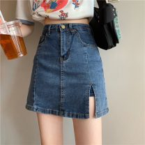 skirt Summer 2021 S,M,L,XL Blue, black Short skirt commute High waist skirt Solid color 18-24 years old 6319F 71% (inclusive) - 80% (inclusive) Denim Korean version