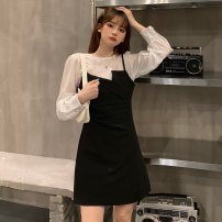 Dress Autumn 2020 Grey two-piece set, black two-piece set S, M Mid length dress Two piece set Long sleeves commute Crew neck High waist Socket A-line skirt routine 18-24 years old Type A Korean version 6150M 51% (inclusive) - 70% (inclusive) polyester fiber
