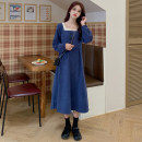 Dress Autumn 2020 Average size Mid length dress singleton  Long sleeves commute square neck High waist Solid color Socket A-line skirt routine 18-24 years old Type A Korean version Button 81% (inclusive) - 90% (inclusive) acrylic fibres