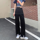 Casual pants White, black S,M,L Summer 2021 trousers loose  High waist commute routine 18-24 years old 51% (inclusive) - 70% (inclusive) 8050M Korean version polyester fiber Asymmetry