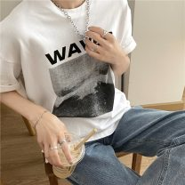 T-shirt white Average size Summer 2021 Short sleeve Crew neck easy Regular routine commute cotton 71% (inclusive) - 85% (inclusive) 18-24 years old Korean version