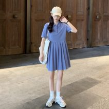 Dress Summer 2021 Blue, black Average size Middle-skirt singleton  Short sleeve commute Polo collar Solid color Socket Pleated skirt routine 18-24 years old Type A Korean version Button 9182X 51% (inclusive) - 70% (inclusive) cotton