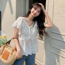 shirt Apricot, white Average size Summer 2021 polyester fiber 51% (inclusive) - 70% (inclusive) Short sleeve commute Short style (40cm < length ≤ 50cm) V-neck Single row multi button routine 18-24 years old Straight cylinder Korean version 9179X