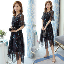 Nursing clothes Black picture color M,L,XL,2XL Other / other double-breasted summer elbow sleeve Medium length Korean version Dress Abstract pattern Side opening Chiffon