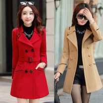 woolen coat Winter 2017 M,L,XL,2XL,3XL Black, red, Burgundy, khaki, navy other 81% (inclusive) - 90% (inclusive) Medium length Long sleeves commute double-breasted routine tailored collar Solid color Self cultivation Korean version Pocket, stitching, buttons, lace up, tridimensional decoration