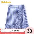skirt 140cm,150cm,160cm,165cm Blue and white 0481 Bala female Cotton 100% summer skirt leisure time lattice A-line skirt cotton Class B