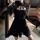 Dress Winter of 2019 Black, collect baby, add shopping cart to give gift S,M,L,XL Short skirt singleton  Long sleeves commute High waist Solid color A-line skirt 18-24 years old Type A Other / other Korean version Crochet, openwork, lace 81% (inclusive) - 90% (inclusive)