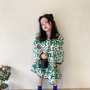 Dress Green, half size female Other / other 80cm,90cm,100cm,110cm,120cm,130cm Cotton 100% spring and autumn Korean version Long sleeves Dot cotton A-line skirt 21qz649 12 months, 18 months, 2 years old, 3 years old, 4 years old, 5 years old, 6 years old Chinese Mainland Zhejiang Province Huzhou City