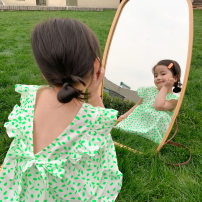 Dress Fluorescent green V skirt female Other / other 80cm,90cm,100cm,110cm,120cm,130cm,140cm Cotton 100% summer Korean version Long sleeves Dot cotton A-line skirt 2020X11 Class A Three years old, 18 months old, 5 years old, 12 months old, 6 years old, 2 years old, 4 years old Chinese Mainland