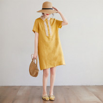 Dress Summer 2020 yellow XL,2XL Mid length dress singleton  Short sleeve commute Polo collar Loose waist Solid color Socket A-line skirt routine Type A Other / other literature Button, button 31% (inclusive) - 50% (inclusive) hemp
