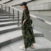 Dress Summer 2020 Military green camouflage S,M,L,XL longuette singleton  Short sleeve Sweet Crew neck More than 95% other cotton