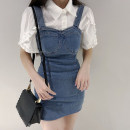 Dress Summer 2021 Blue, white XXS,XS,S,M Short skirt Two piece set Short sleeve commute square neck High waist Solid color zipper A-line skirt puff sleeve Others 18-24 years old Type H Korean version ETRRHC 31% (inclusive) - 50% (inclusive) Denim other