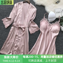 Nightdress Wei Mi Qing 155(S),160(M),165(L),170(XL),175(XXL) sexy camisole pajamas Short skirt summer Solid color youth V-neck silk lace 81% (inclusive) - 95% (inclusive) other 200g