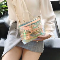 Bag The single shoulder bag PVC Birkin  Other / other Colorful brand new European and American fashion Small leisure time soft Buckle no Solid color Single root One shoulder cross carry nothing youth Horizontal square chain Chain handle