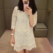 Dress Summer 2021 white S,M,L,XL Mid length dress singleton  Short sleeve commute Crew neck High waist Solid color Socket A-line skirt routine Others Type H Other / other Korean version Cut out, lace Lace other