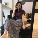 Professional dress suit S,M,L,XL Grape purple T-shirt + Floral skirt , Grape purple T-shirt + White skirt Summer 2021 Short sleeve A-line skirt Other / other