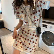 Dress Summer 2021 Short sleeve Short skirt Two piece set commute Polo collar routine High waist 18-24 years old A-line skirt More than 95% other Type A L2103248 knitting S,M