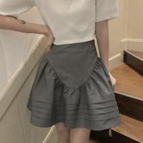 skirt Summer 2021 S,M,L grey Short skirt commute High waist A-line skirt Solid color Type A L2103114 other other Korean version