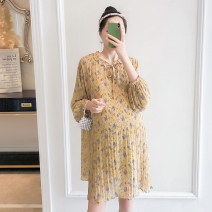 Dress Xinkaiyue [yellow ground broken flower] [beibai ground broken flower] yellow ground broken flower and beibai ground broken flower Average size Korean version Long sleeves Decor LYQ-61819