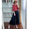 Casual pants Cropped Trousers Wide leg pants High waist Versatile 96% and above hemp hemp