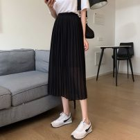 skirt Summer 2021 S,M,L,XL white , black , Light Khaki Mid length dress commute High waist A-line skirt Solid color Type A 91% (inclusive) - 95% (inclusive) Korean version