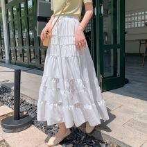 skirt Summer 2021 S,M,L,XL White, black Mid length dress Versatile High waist Splicing style Solid color Type A 25-29 years old 51% (inclusive) - 70% (inclusive) other Cellulose acetate fungus