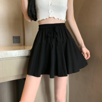 skirt Summer 2021 S. M, l, XL, one size fits all White, black Short skirt Versatile High waist A-line skirt Solid color Type A 25-29 years old other polyester fiber