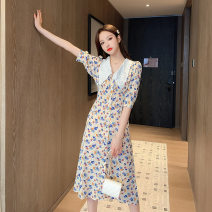Dress Summer 2021 Little blue flower S,M,L,XL,2XL,3XL Middle-skirt Two piece set elbow sleeve street V-neck High waist Dot Single breasted A-line skirt routine Type H MAJE BRIAN 51% (inclusive) - 70% (inclusive) polyester fiber