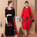 Dress Autumn of 2018 Red, black M,L,XL,2XL longuette singleton  Long sleeves commute Hood Loose waist Decor Socket A-line skirt routine Others Other / other ethnic style Embroidery 31% (inclusive) - 50% (inclusive) cotton