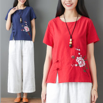 T-shirt Red, Navy Big XL, big XXL, big L, big M Summer of 2019 Short sleeve Crew neck easy Regular routine commute cotton 51% (inclusive) - 70% (inclusive) ethnic style Plants and flowers Other / other Embroidery