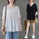 T-shirt White, black Average size [100-150 Jin] Summer 2021 Short sleeve V-neck easy Regular routine commute cotton 51% (inclusive) - 70% (inclusive) literature