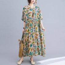 Dress Summer 2021 Decor Average size [100-170 kg] longuette singleton  Short sleeve commute Crew neck Sleeve Others literature 51% (inclusive) - 70% (inclusive) cotton