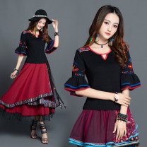 T-shirt black M,L,XL,2XL,3XL Summer of 2019 elbow sleeve Crew neck Self cultivation Regular pagoda sleeve commute cotton 51% (inclusive) - 70% (inclusive) ethnic style Solid color Other / other Embroidery