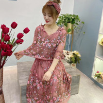 Women's large Summer 2021 Coffee powder Average size (100-150 kg) Dress Fake two pieces commute easy moderate Socket three quarter sleeve Flowers, flowers Retro Hood Medium length silk Make old routine BF2023-4E Other / other 30-34 years old Embroidery 91% (inclusive) - 95% (inclusive) Medium length