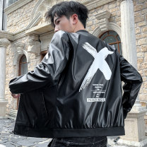leather clothing Others Youth fashion M,L,XL,2XL,3XL,4XL have cash less than that is registered in the accounts Imitation leather clothes stand collar Slim fit zipper autumn leisure time teenagers PU tide Cloth hem Three dimensional bag printing No iron treatment Plants and flowers