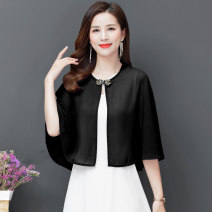 short coat Summer 2021 XL,2XL,3XL Black, red, rose red, white, sapphire blue, fruit green Sleeveless UltraShort  Thin money singleton  easy Versatile routine Crew neck A button Solid color 40-49 years old bow WW2066#