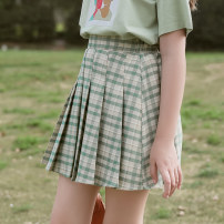 skirt 120cm 130cm 140cm 150cm 160cm 165cm Green pleated skirt green [model's same T-shirt] Colorful pocket female Other 100% summer skirt Korean version lattice Pleats other GK202354-4- Class B Summer 2021