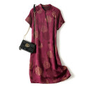Dress Spring 2021 Purplish red printing M,L,XL Mid length dress singleton  Short sleeve commute stand collar Loose waist Dot A button A-line skirt routine Others 30-34 years old Type A Retro Button, print LQ2050 More than 95% other silk