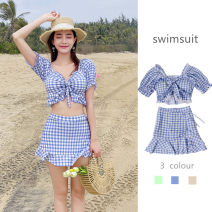 Split swimsuit Langyu Light blue, light green, apricot S (recommended 80-90 kg), m (recommended 90-100 kg), l (recommended 100-110 kg), XL (recommended 110-120 kg) Skirt split swimsuit With chest pad without steel support Spandex, polyester, others female V-neck